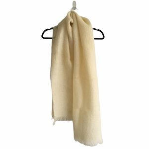 Mohair Long Wool Scarf With Fringe Cream